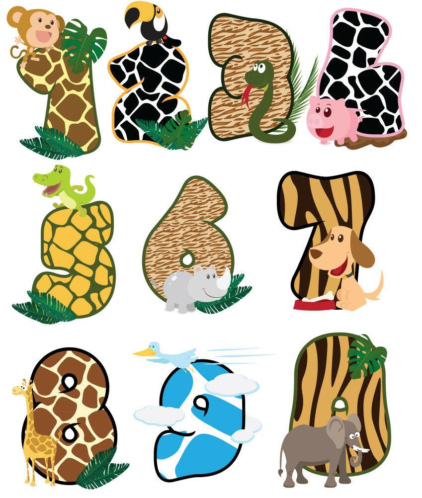 Animal Chiffres Zoo Lion Nursery Wall Stickers