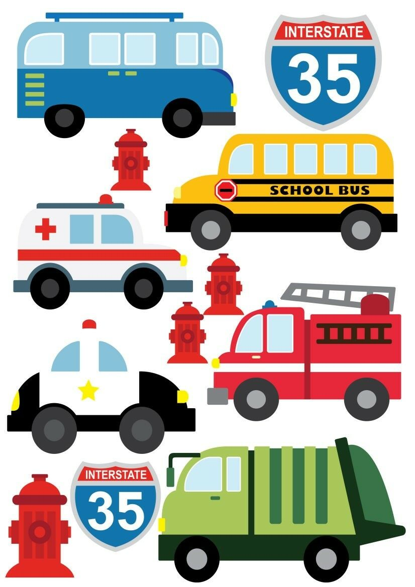Cars School Bus Fire Truck Police Car Vehicles Childrens