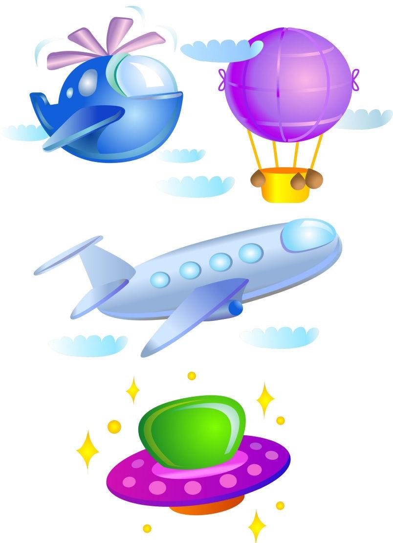 Flight Aircraft Plane Hot Air Balloon Cute Childrens