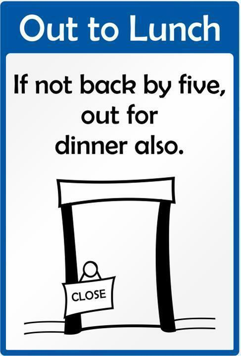 Funny Warning Sign Out To Lunch Sticker Self Adhesive For