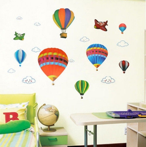 Hot air balloons and planes large nursery wall sticker