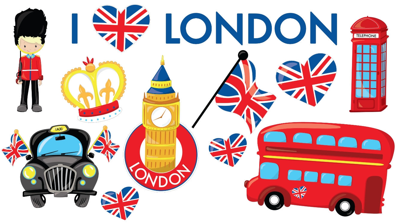 i love london england queen british flag red bus phonebox park bench clip art b/w Park Setting