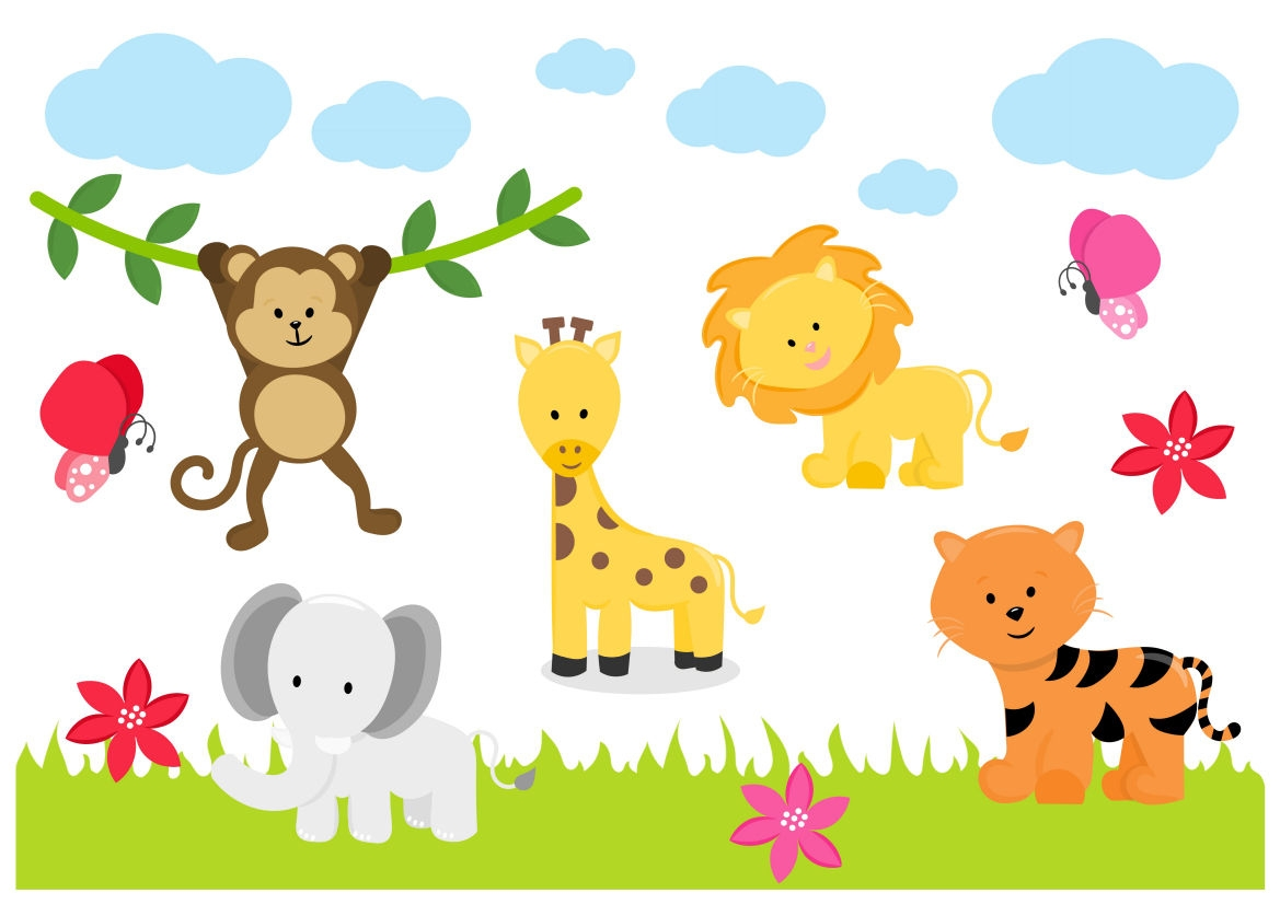 Wall Stickers For Home Decoration Jungle Animals Zoo Lion Tiger Elephant Childrens Nursery