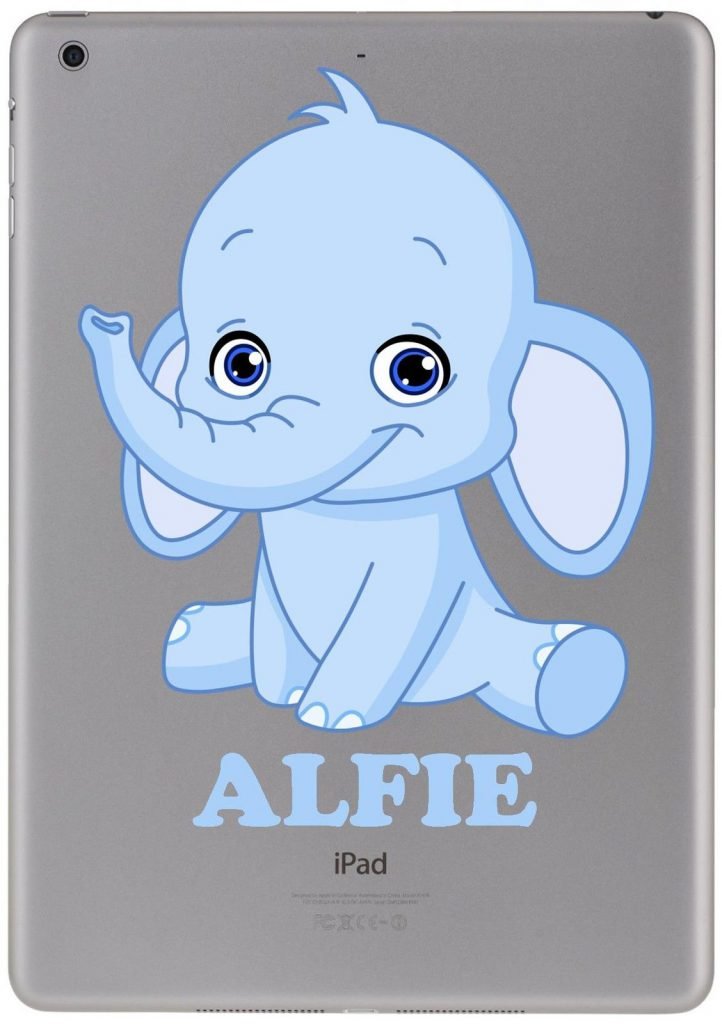 Personalised baby blue elephant sticker for ipad macbook