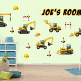 Personalised-Construction-Digger-JCB-Style-Childrens-Nursery-Wall-Stickers-191903278611