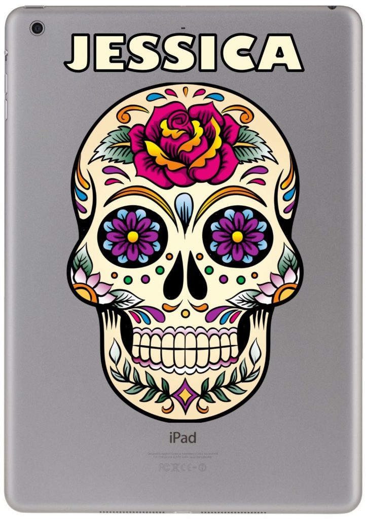 Personalised mexican sugar skull sticker for ipad macbook