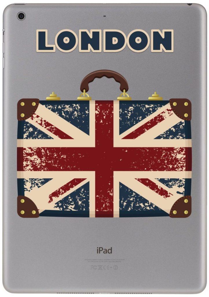 Personalised retro gb british flag sticker for ipad
