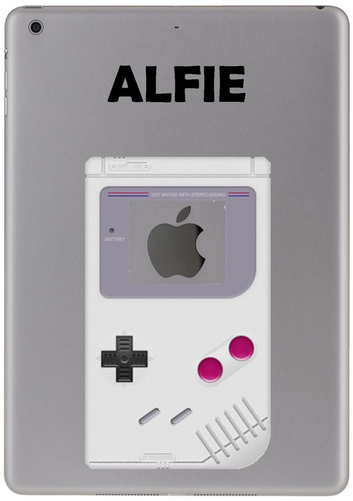 Personalised retro gaming gameboy style sticker for ipad