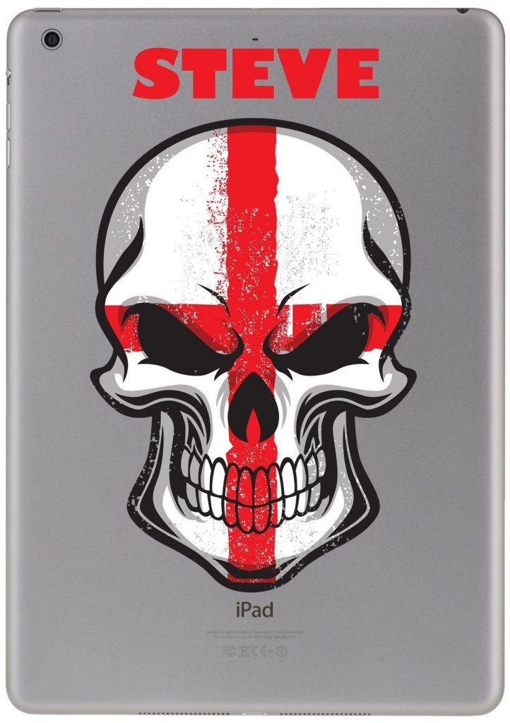 Personalised skull british flag sticker for ipad tablet