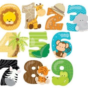Safari-Numbers-Animals-Zoo-Lion-Nursery-Wall-Stickers-192027932253