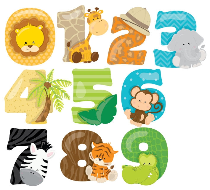 Safari Numbers Animals Zoo Lion Nursery Wall Stickers