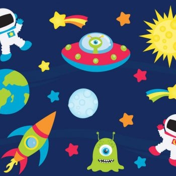 Spaceships-Aliens-Rockets-Spaceman-Childrens-Nursery-Wall-Stickers-191858950032