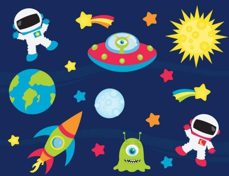 Spaceships-Aliens-Rockets-Spaceman-Childrens-Nursery-Wall-Stickers-191858950032