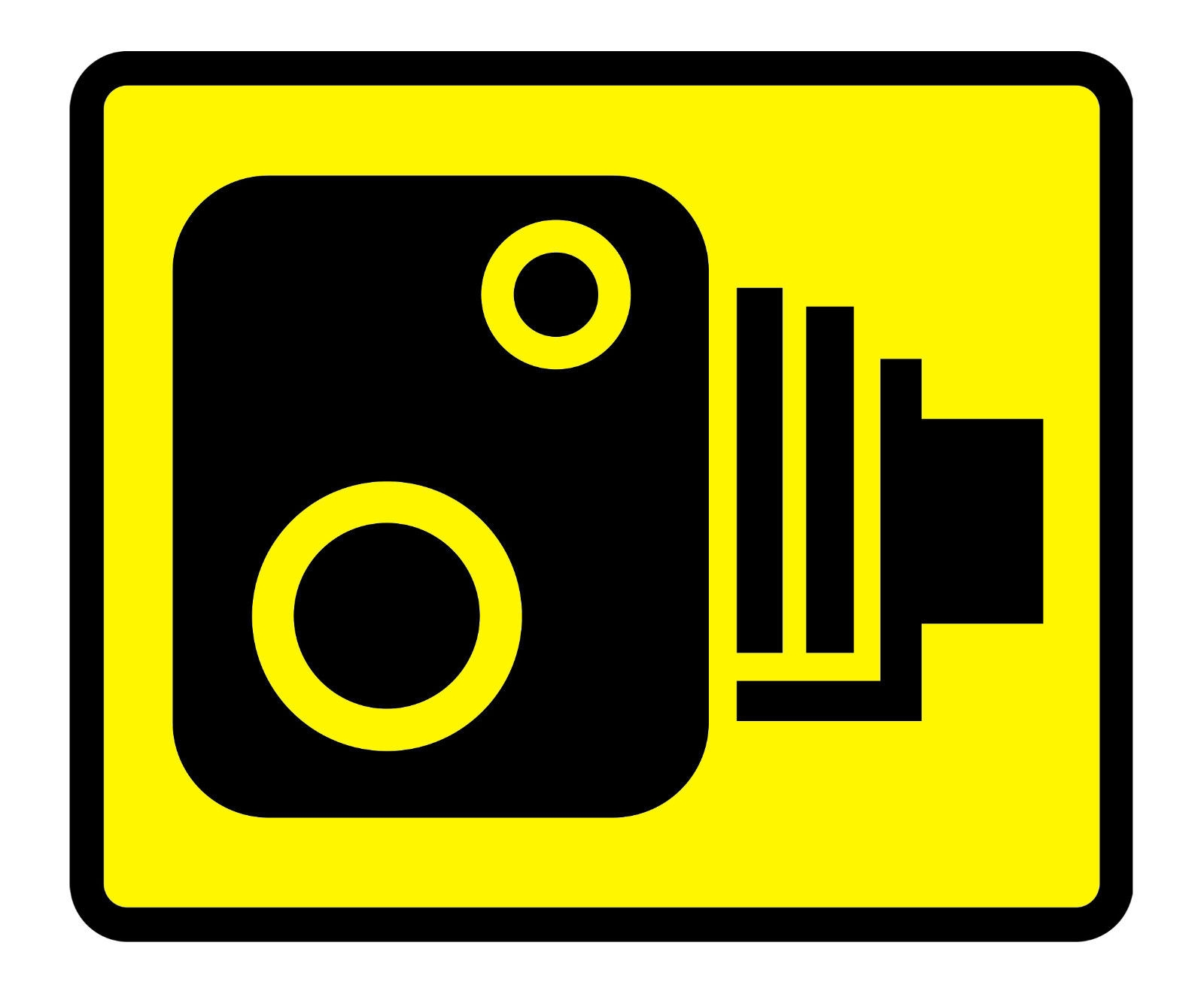 Small Wall Stickers Uk Speed Camera Yellow Road Traffic Warning Sign Self
