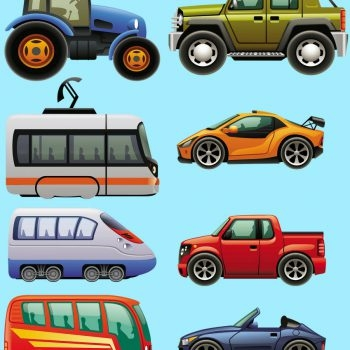 Vehicles-Tractor-Racecar-Cars-Bus-Tram-Train-Childrens-Nursery-Wall-Stickers-191894649475