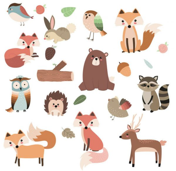 Woodland-Forest-Animals-Nursery-Wall-Stickers-Watercolour-192305628805