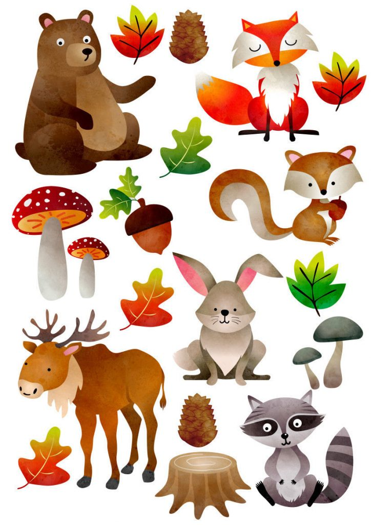 Woodland-Forest-Animals-Nursery-Wall-Stickers-Watercolour-201993256308
