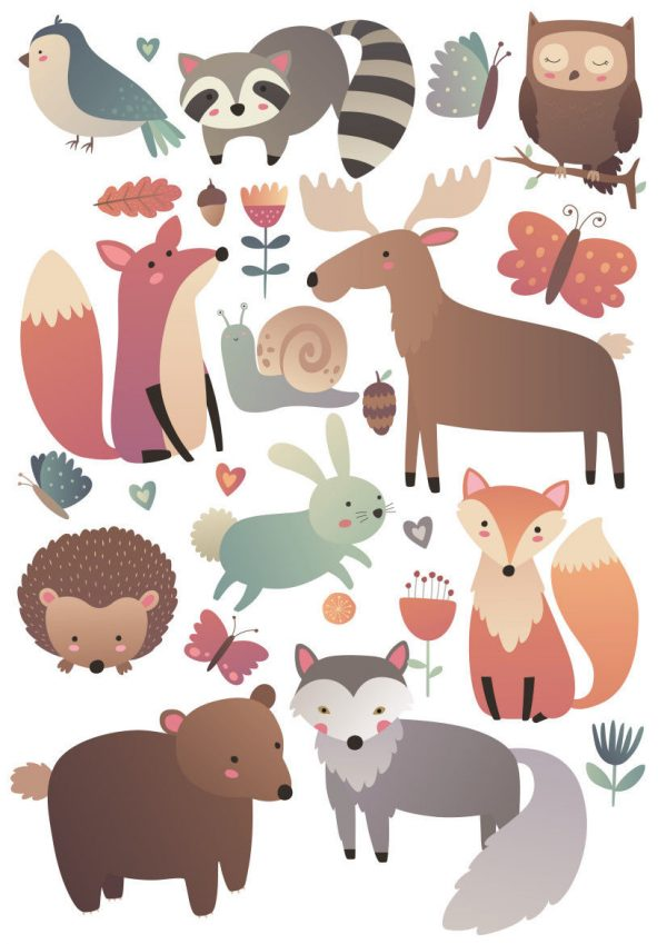 Woodland-Forest-Animals-Nursery-Wall-Stickers-Watercolour-202053688631