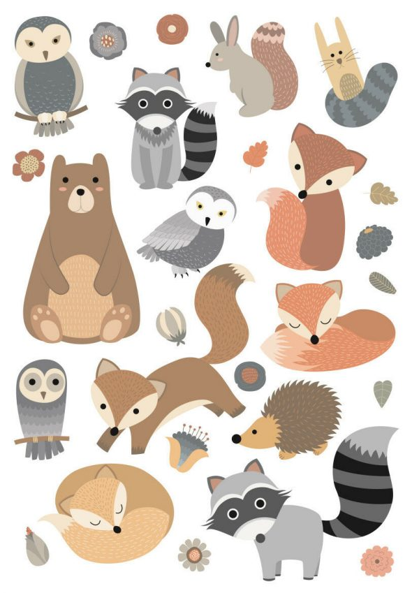 Woodland-Forest-Animals-Nursery-Wall-Stickers-Watercolour-202054535874