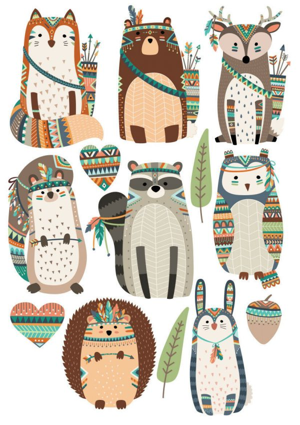 Woodland-Tribal-Forest-Animals-Nursery-Wall-Stickers-Watercolour-202047302000