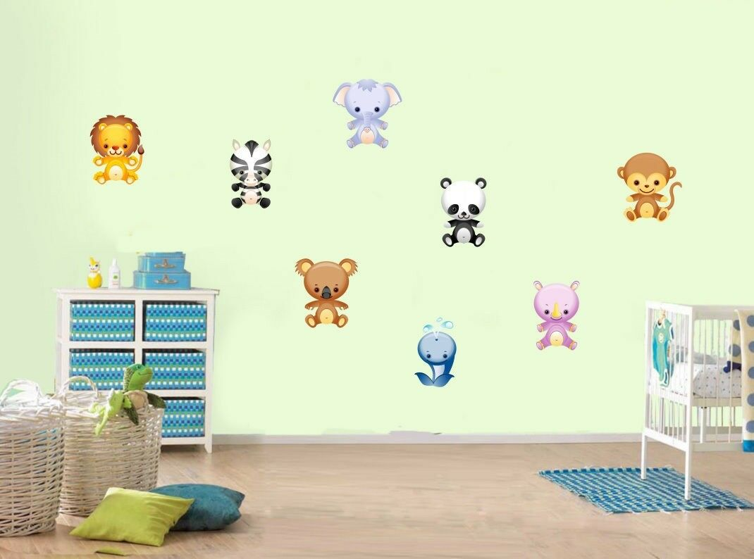 Zoo Animals Monkey Lion Zebra Cute Childrens Nursery Wall